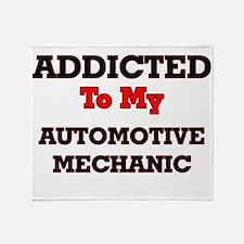 Addicted to my Automotive Mechanic Throw Blanket