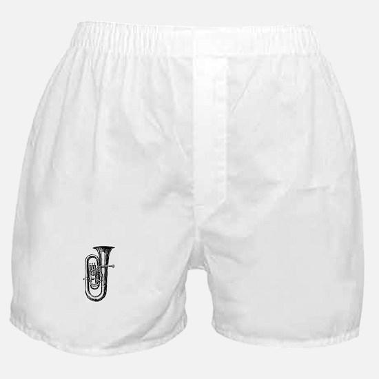 Antique Woodcut Tuba Boxer Shorts