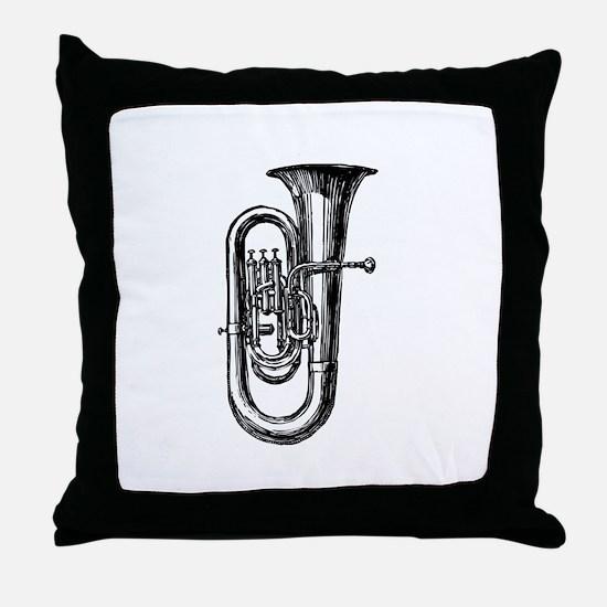 Woodcut Tuba Throw Pillow