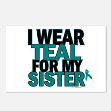 I Wear Teal For My Sister 5 Postcards (Package of