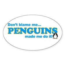 Blame Penguins Oval Stickers