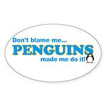 Blame Penguins Oval Sticker