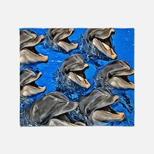Bottlenosed Dolphin Pod Throw Blanket