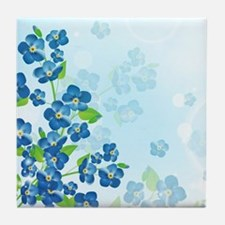 Forget Me Not Flowers Tile Coaster