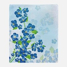 Forget Me Not Flowers Throw Blanket