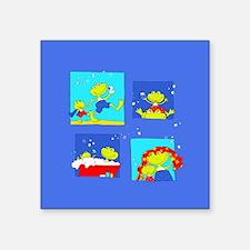 "Bathtub Frogs on Square Sticker 3"" x 3"""