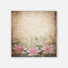 """Pink Lotus Grunge Square Sticker 3"""" x 3"""""""