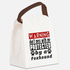 Protected By Foxhound Dog Canvas Lunch Bag