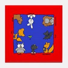 Funny Forest Animals on Tile Coaster