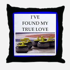 Cute Curling club Throw Pillow