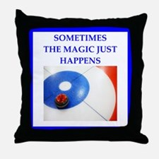 Cute Curling funny Throw Pillow