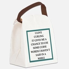 Cute Curling humor Canvas Lunch Bag