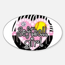 Softball Girl Sticker (Oval)