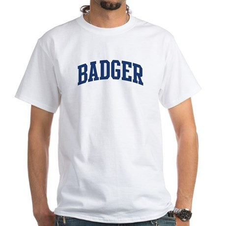BADGER design (blue) White T-Shirt
