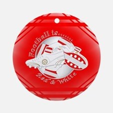 Red and White Football Soccer Round Ornament