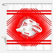 Red and White Football Soccer Shower Curtain