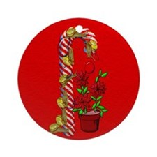 Snails on Candy Cane Ugly Ornament (Round)