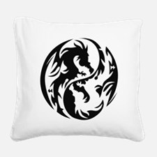 Tribal Dragons Square Canvas Pillow