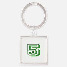 5 Green Birthday Square Keychain