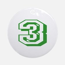 3 Green Birthday Round Ornament