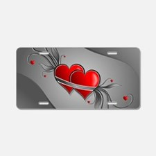 Double Hearts Aluminum License Plate