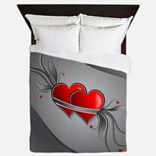 Double Hearts Queen Duvet