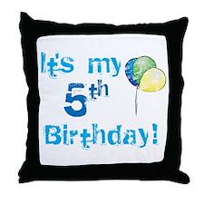 It's My 5th Birthday Throw Pillow