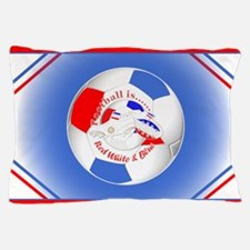 Red White and Blue Soccer Pillow Case