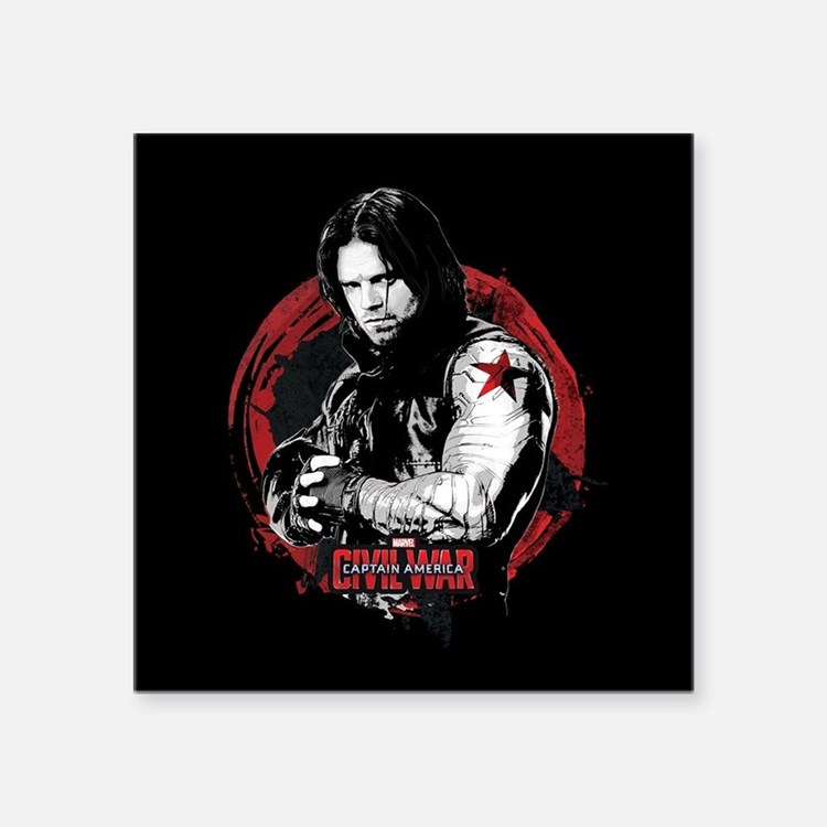 "The Winter Soldier Red Circ Square Sticker 3"" x 3"""