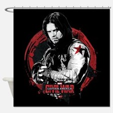 The Winter Soldier Red Circle - Cap Shower Curtain