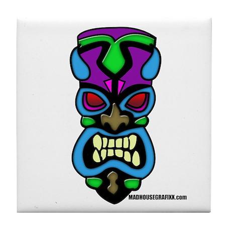 Teal Tiki Mask Tile Coaster