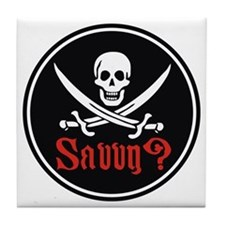 Savvy? Pirate Flag Tile Coaster