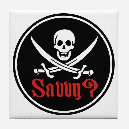 Savvy? Pirate Flag Tile Coaster