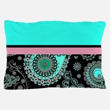 Cute Aqua paisley Pillow Case