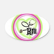 Nurse RN Stethoscope Oval Car Magnet