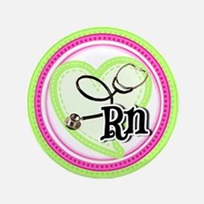 Nurse RN Stethoscope Button