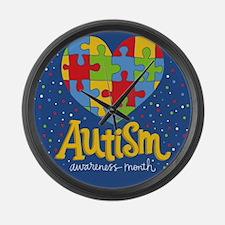 autism awareness month Large Wall Clock