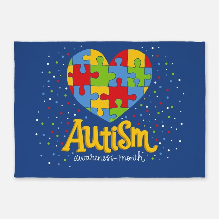 autism awareness month 5'x7'Area Rug