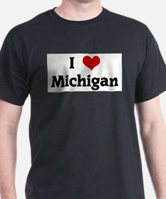 I Love Michigan Ash Grey T-Shirt