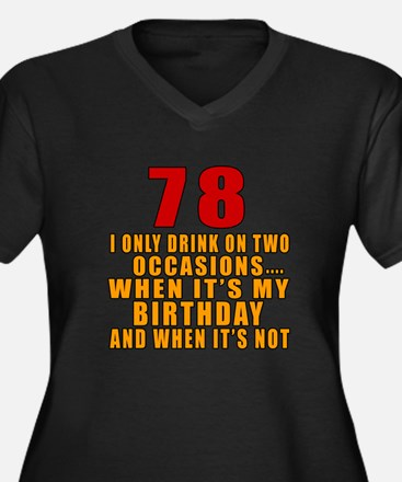 78 Birthday Women's Plus Size V-Neck Dark T-Shirt