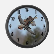 Mallards in flight Large Wall Clock