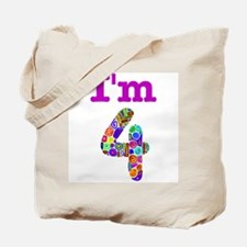 Colorful I'm 4 Tote Bag