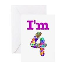 Colorful I'm 4 Greeting Card