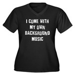 Background Music Women's Plus Size V-Neck Dark T-S