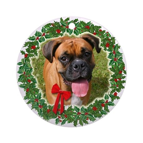 Drop eared Boxer Ornament (Round)