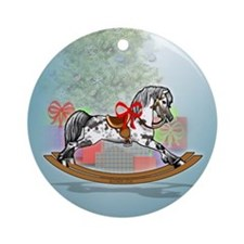 Rocking Horse With Gifts Ornament (Round)