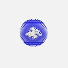 Blue and White Football Soccer Mini Button