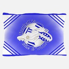 Blue and White Football Soccer Pillow Case
