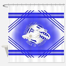Blue and White Football Soccer Shower Curtain