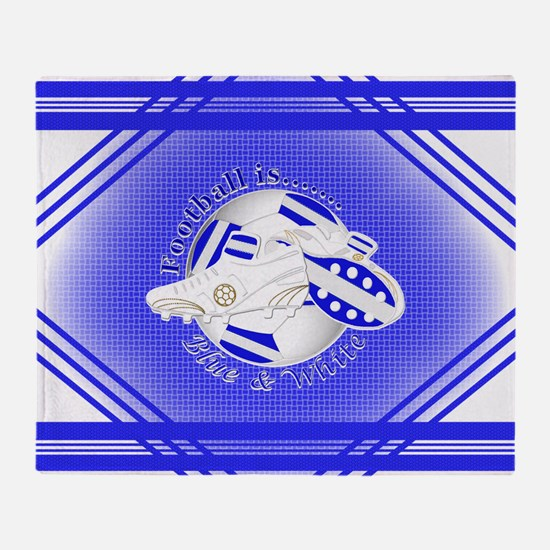 Blue and White Football Soccer Throw Blanket